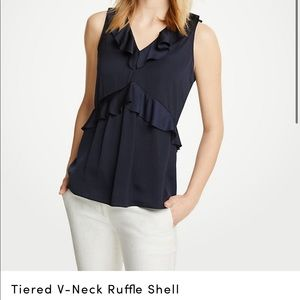 Ann Taylor Tiered Ruffle V-Neck Blouse